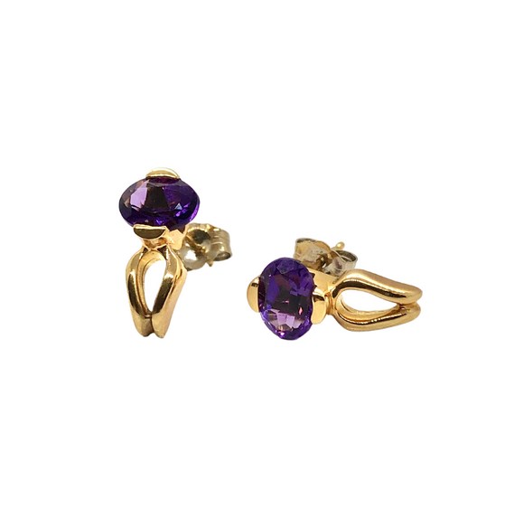 14k Gold Oval Amethyst Earrings