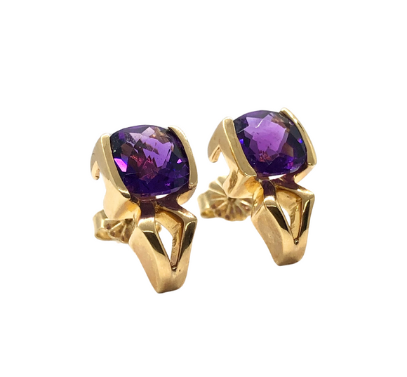 14k Gold Cushion Amethyst Earrings