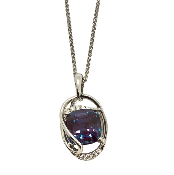 Chatham Cushion Alexandrite Necklace