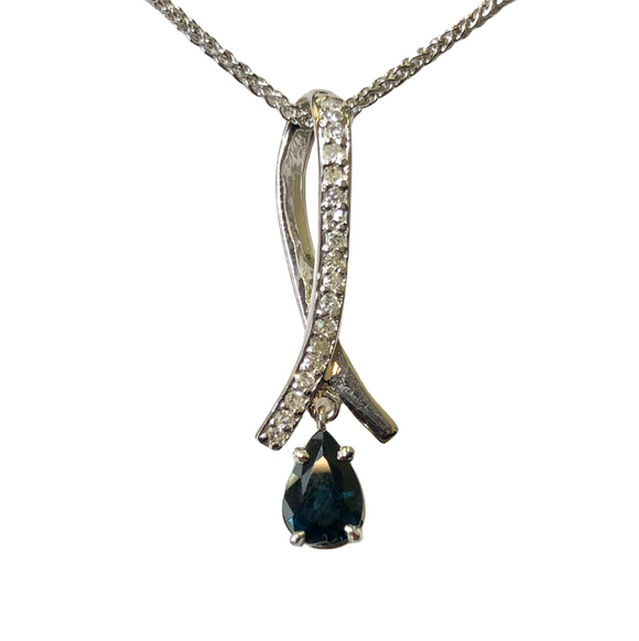 14k White Gold and Sapphire Pendant