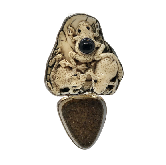 Agate Drusy Frogs Pin