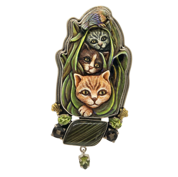 Three Cat Brooch/Pendant