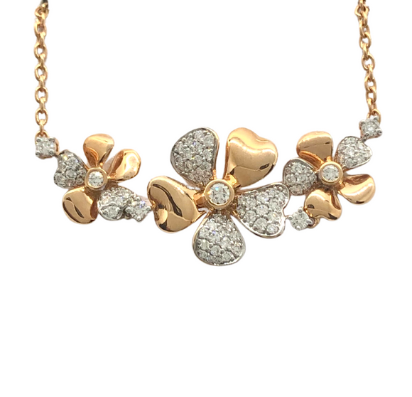 Allure 18K Rose Gold 3 Flower Necklace