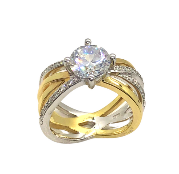 Breuning White and Yellow Gold with Diamond Ring