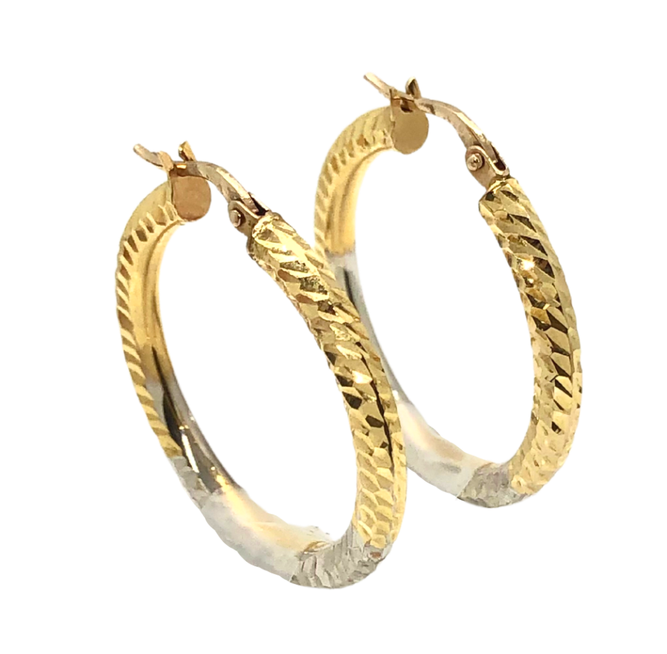 Two Tone Sterling Hoops