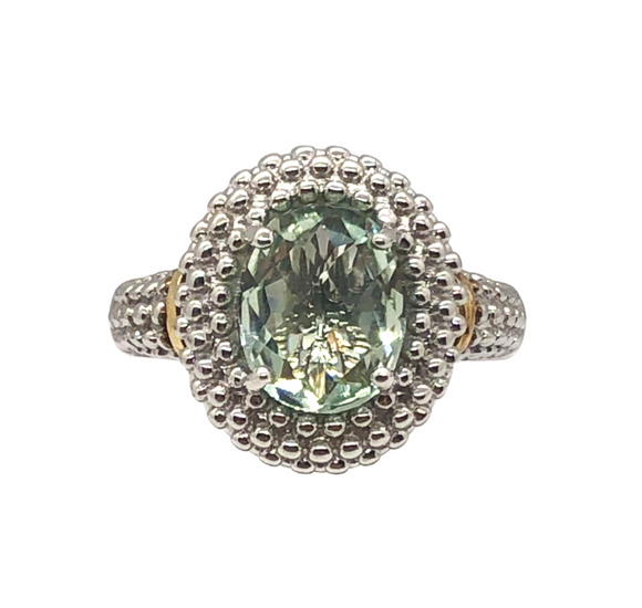 Sterling Silver and 18K Gold Popcorn Ring With Green Amethyst