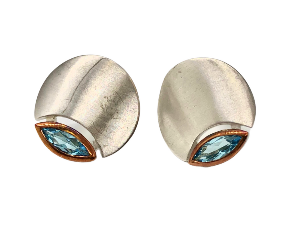 Blue Topaz Silver Disc Earrings