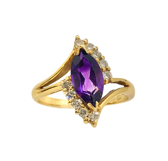 14k Gold Marquise Amethyst and Diamond Ring