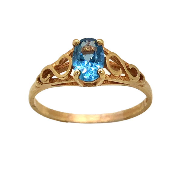 Blue Topaz and 14K Gold Ring