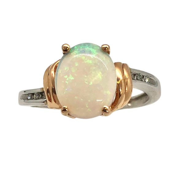 14K Two Tone and Opal Ring