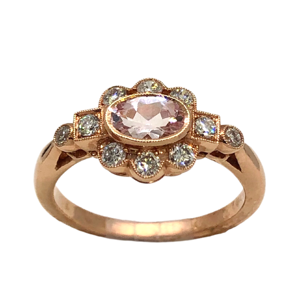 14K Rose Gold and Morganite Ring