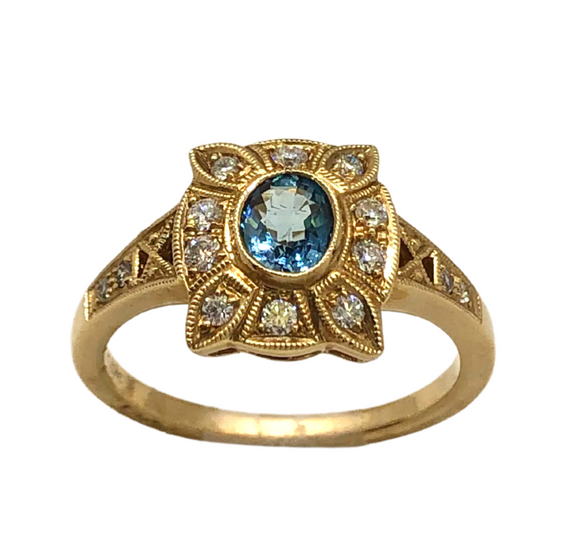 14k Gold and Aquamarine Ring
