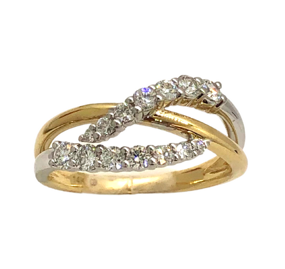 14K Diamond Journey Fashion Ring