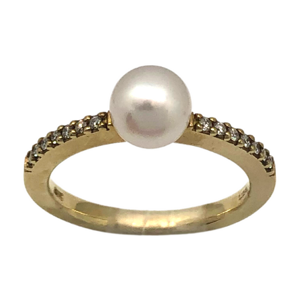 Breuning 14k Pearl & Diamond Ring