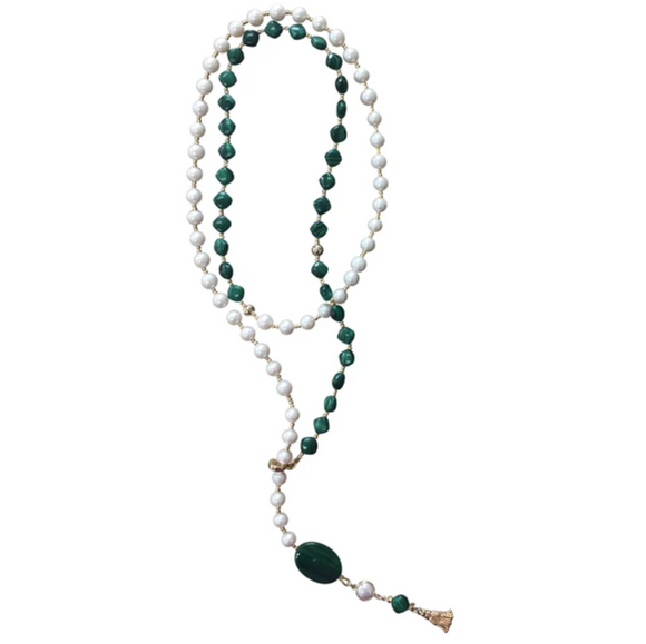 Natural Freshwater Pearls and Malachite Lariat Necklace