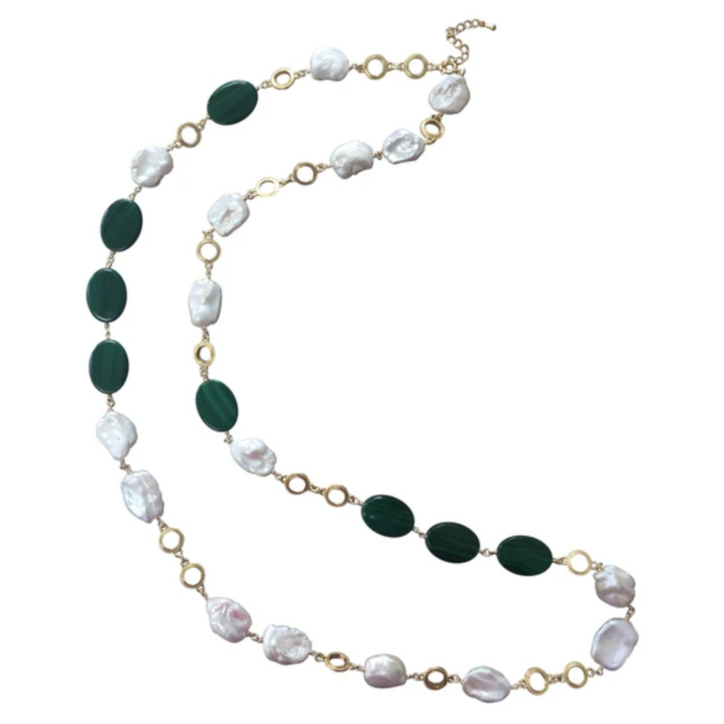 Flat Natural Freshwater Pearls and Malachite Long Necklace