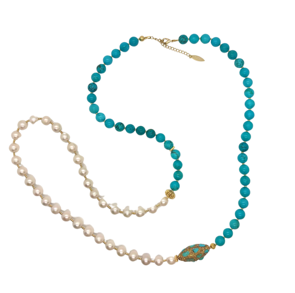 Freshwater Pearls & Turquoise Multi-Way Necklace