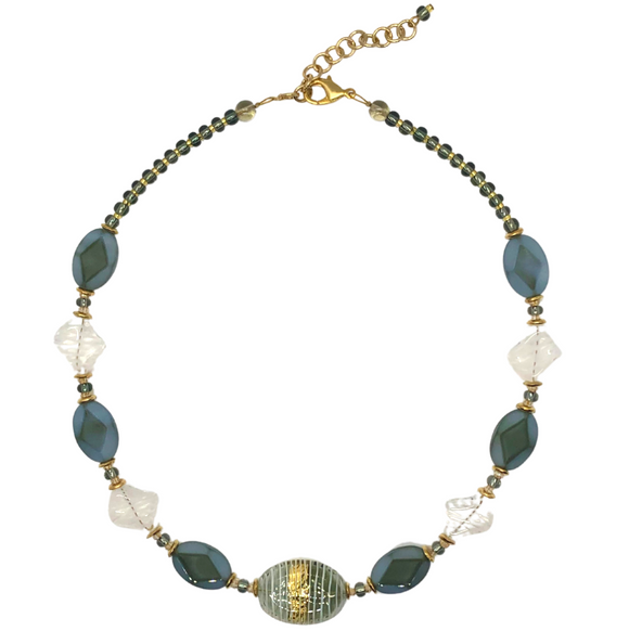 Blue & Gold Italian Glass Necklace