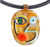 Cubist Face #4 Murano Glass Necklace- Gold
