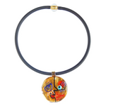 Cubist Face #3 Murano Glass Necklace- Gold