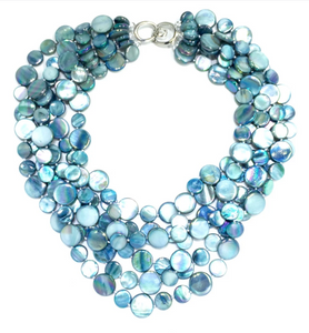 Five Strand Teal Mother of Pearl Necklace