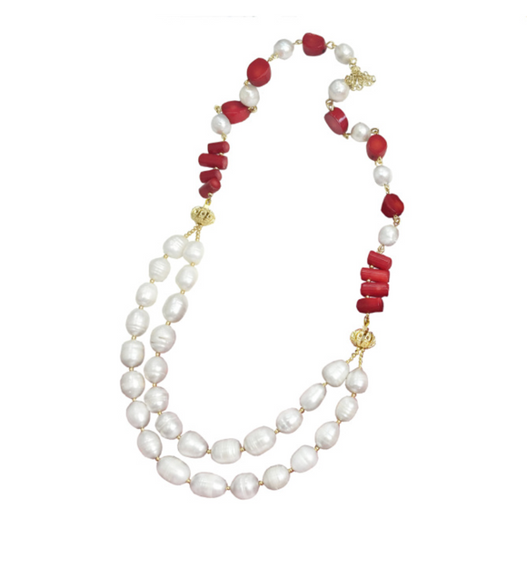 Double Stranded Red Coral and Pearl Necklace