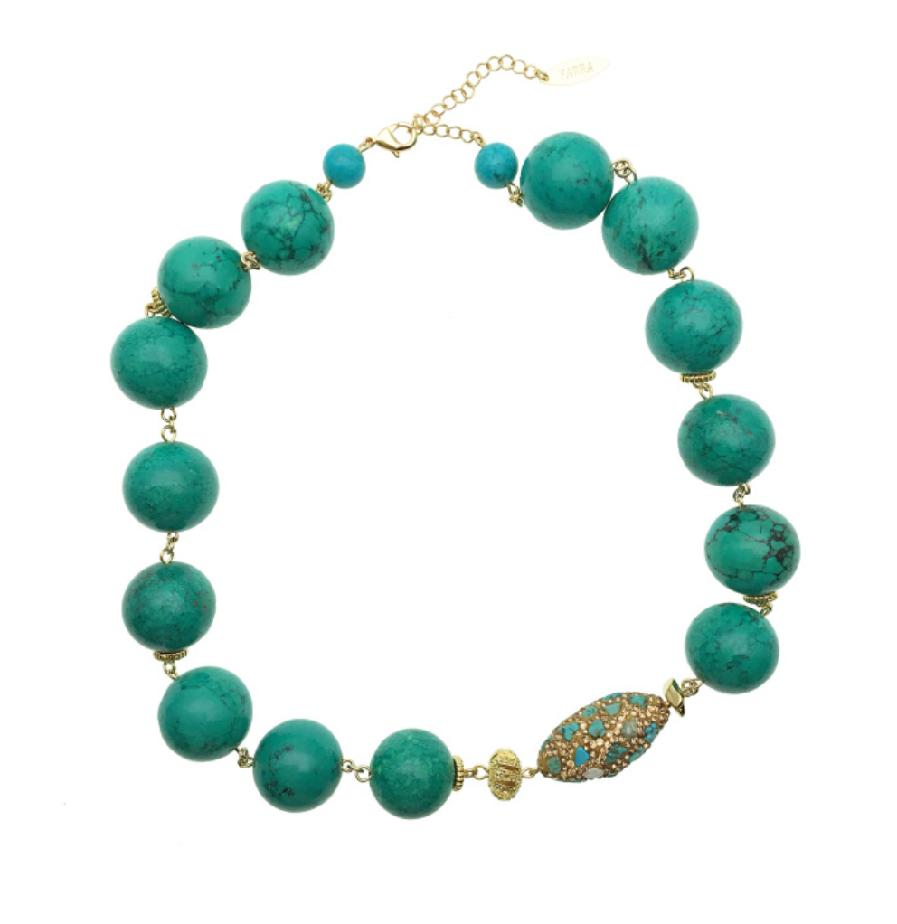 Turquoise with Turquoise Inlaid Bead Necklace