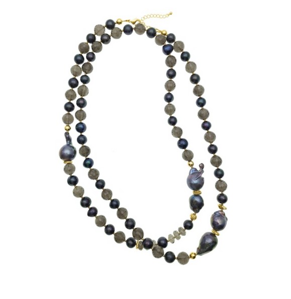 Long Blue Baroque Pearl and Smokey Quartz Necklace
