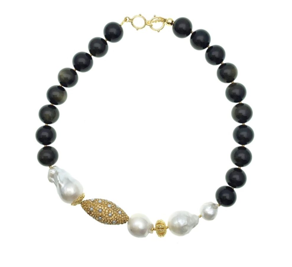 Baroque Pearl, Black Tiger Eye and Pearl Inlaid Bead Necklace