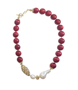 Red Coral, Baroque Pearl and Pear Inlaid Gold Bead Necklace