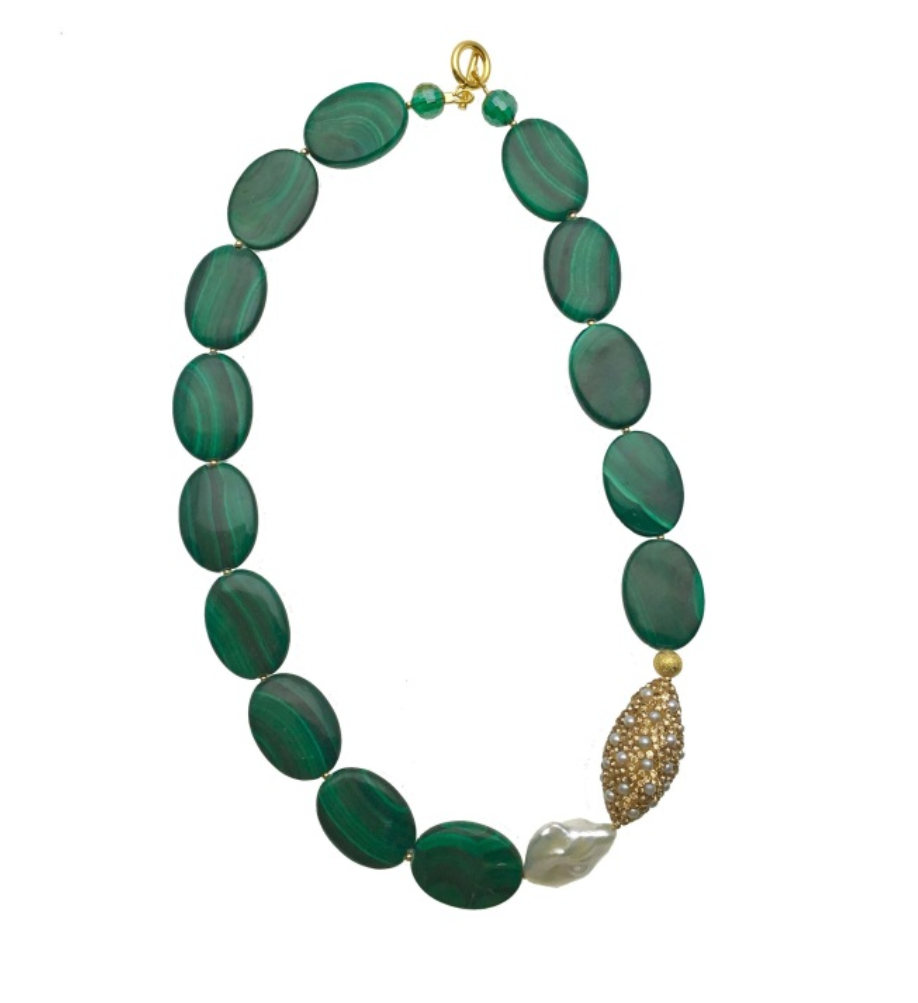 Pearl Inlaid Bead and Malachite Necklace