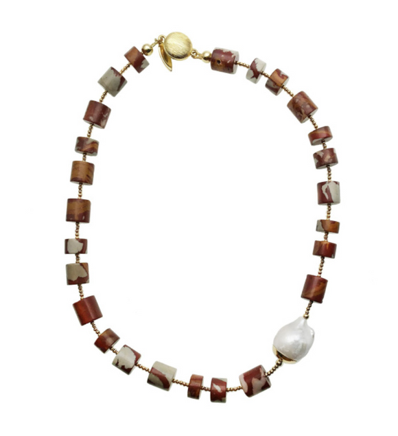 Noreena Jasper and Baroque Pearl Necklace