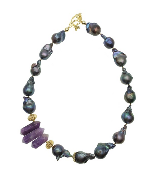 Purple Baroque Pearl and Amethyst Point Necklace