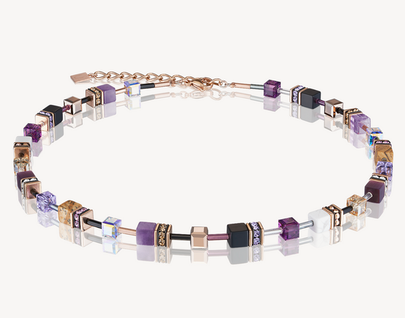 GeoCUBE® Swarovski® Crystals & Gemstones lilac-beige Necklace