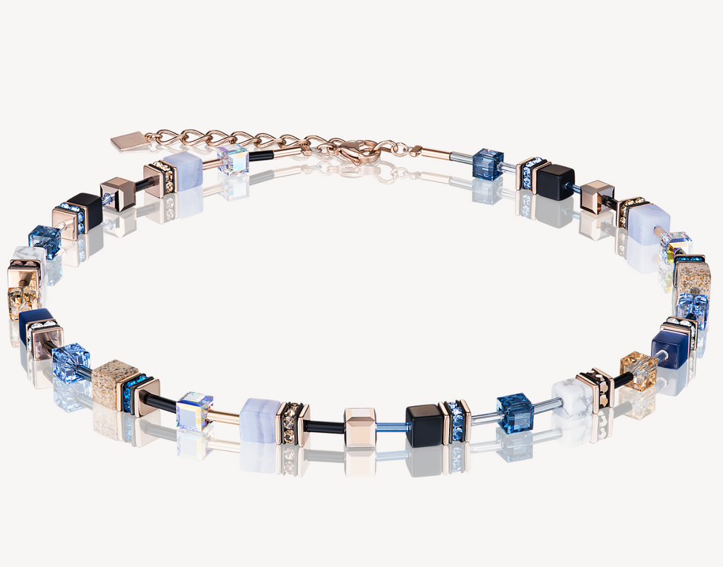 GeoCUBE® Swarovski® Crystals & Gemstones blue-beige Necklace