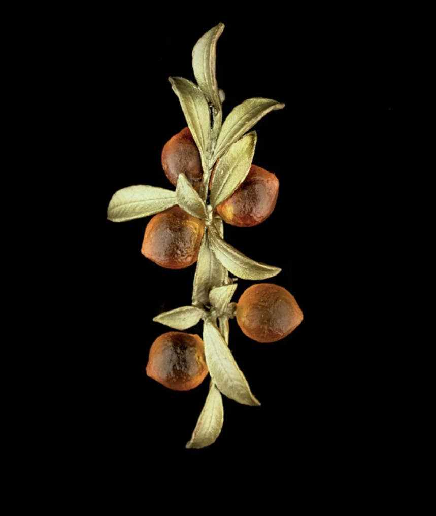 Orange Leaf Brooch