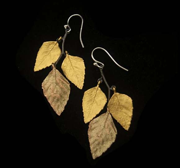 Autumn Birch 3-Leaf Earrings