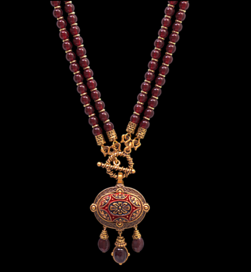 Jewel Mosaic Garnet Drop Necklace