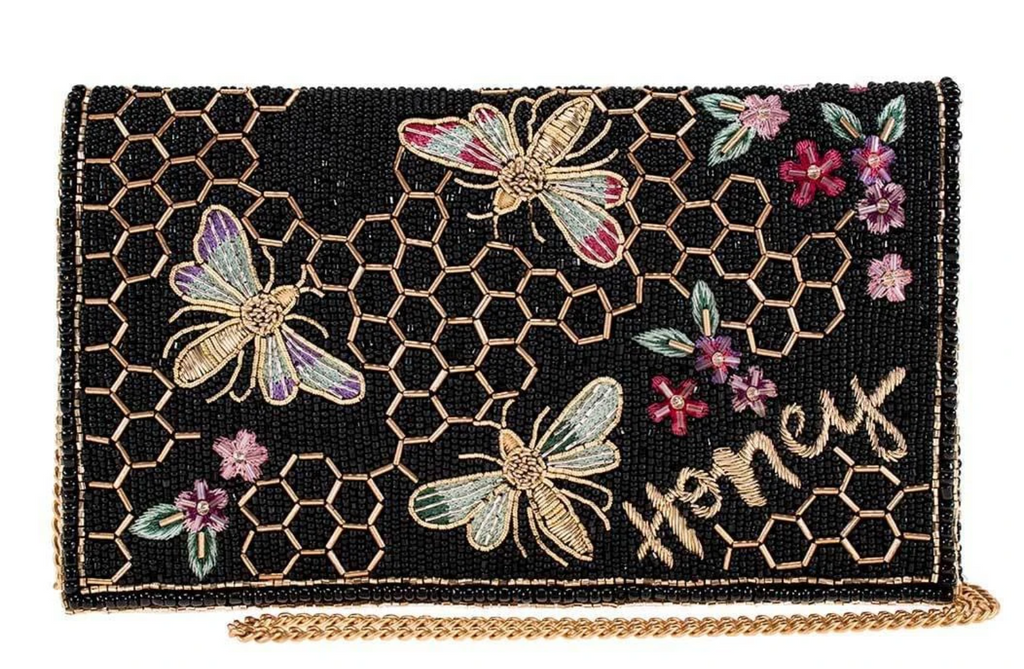 Honey Bee Beaded Crossbody Clutch Handbag