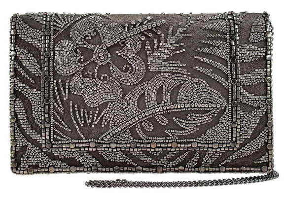 Rainforest, Pewter Beaded Crossbody Clutch Handbag