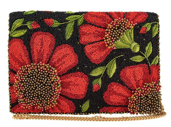 Wallflower Beaded Crossbody Clutch Handbag