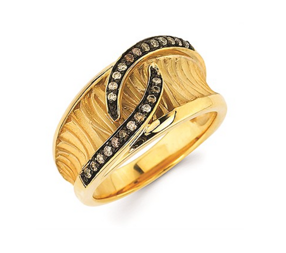 14K Cognac Diamond Concave Texture Fashion Ring