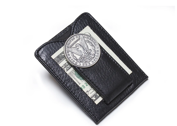 1800s Morgan Silver Dollar Money Clip Wallet