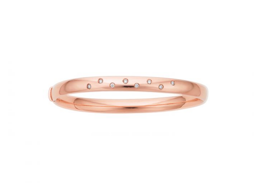 14K Rose Gold Diamond Scatter Bangle