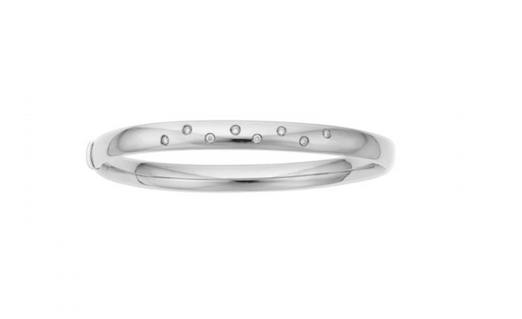 14K White Gold Diamond Scatter Bangle