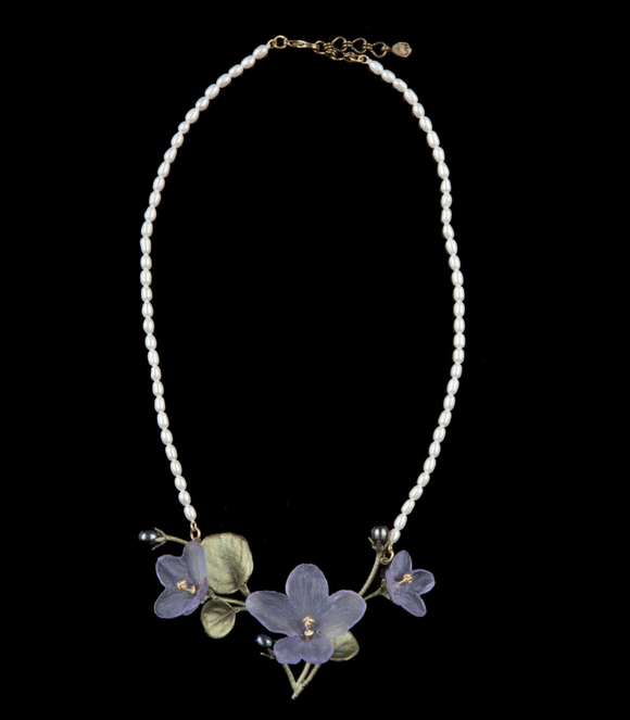 African Violet Necklace - Pearl Leaves