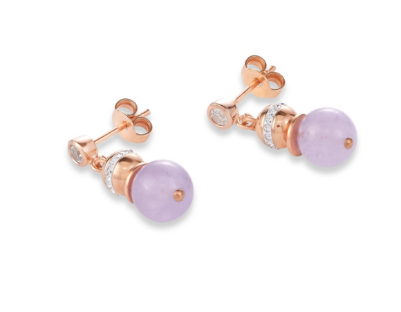 Coeur De Lion Light Rose Beige Ball Gemstone Earrings