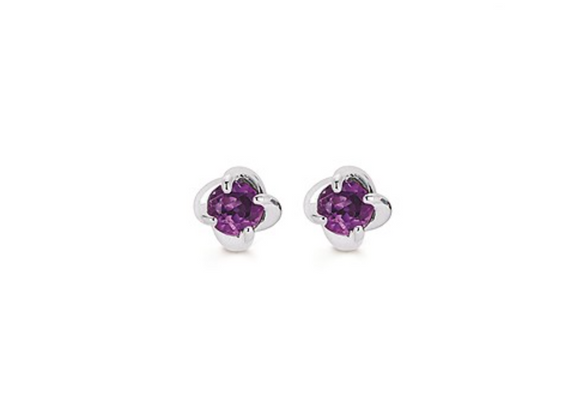 14K White Gold Twist Amethyst Earrings