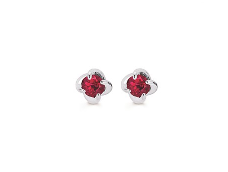 14K White Gold Twist Ruby Earrings