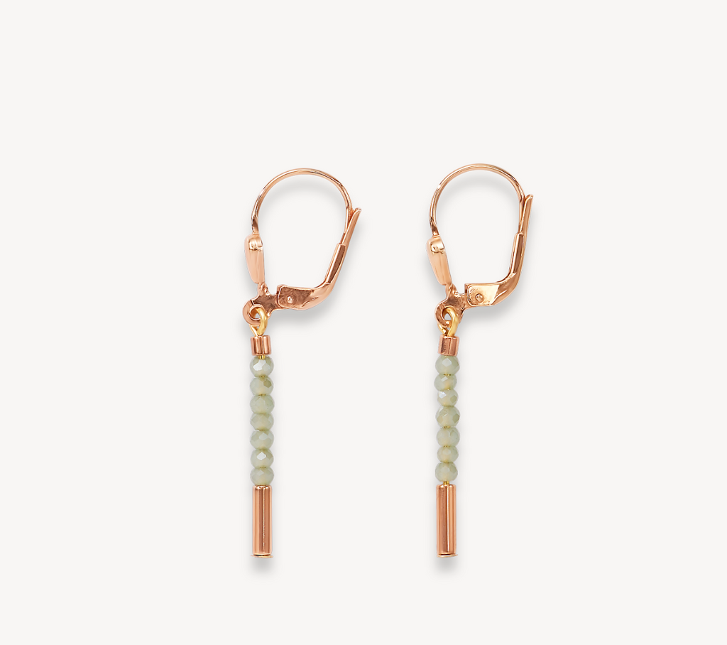 Earrings Waterfall small stainless steel rose gold & glass light green